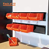 Wallmaster 8-Bin Storage Bins Garage Rack System 2-Tier Orange Tool Organizers Cube Baskets Wall Mount Organizations