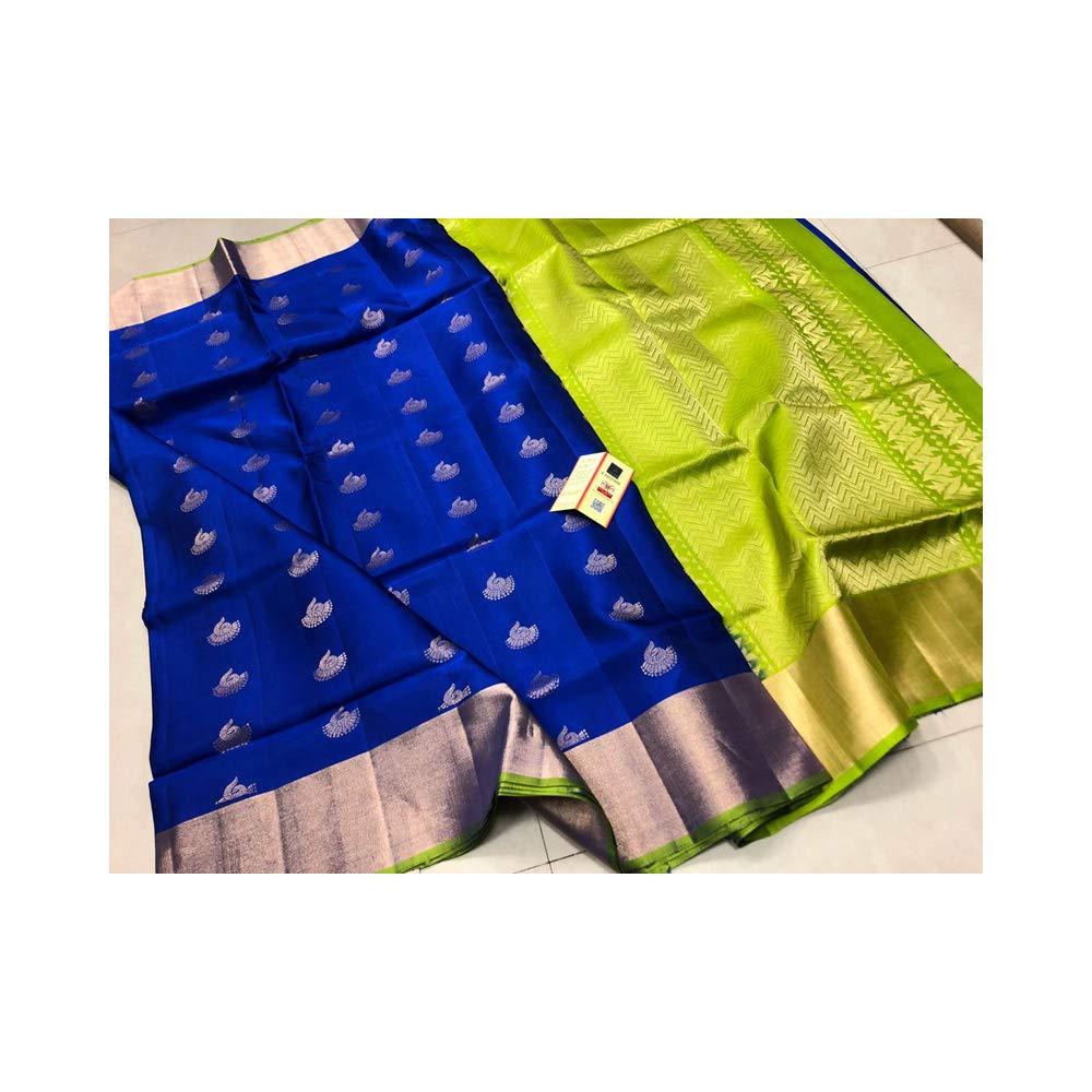 Fashion Vibes Pure Kanchipuram Handloom Soft Silk Saree (Dark Blue)