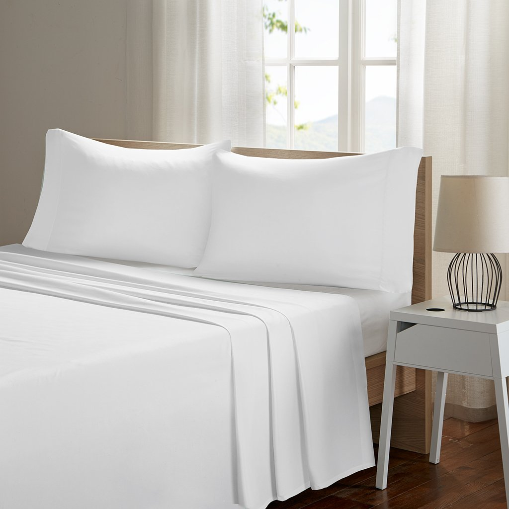 Sleep Philosophy Smart Cool Microfiber Moisture-Wicking Breathable Hypoallergenic 4 Piece Cooling Sheet Set, Queen Size, White