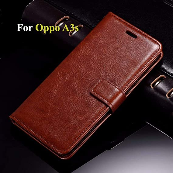 best service 94899 c2e32 Thinkzy OP18-LE2 Flip Cover Case for Oppo A3s (Brown)