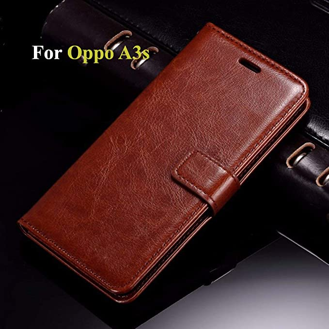 Thinkzy Flip Cover Case for Oppo A3s (Brown)