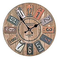 Vitaa 12 Inch Retro Wooden Wall Clock,Silent Non Ticking Large Decorative Wall Clock,Vintage Rustic Country Tuscan Style Wall Clock,Big Colorful Numerals,Quartz Battery Operated(12 Inch)