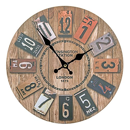 Color Map Products-12 Silent Non Ticking Vintage Rustic Country Tuscan Style Arabic Numerals Wooden Large Decorative Round Wall Clock-Big Wood Atomic Analog Battery Operated (12 Inches)
