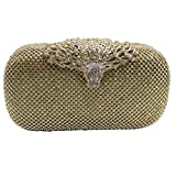 DMIX Women Crystal Evening Bags and Clutches for Party Prom Wedding Gold