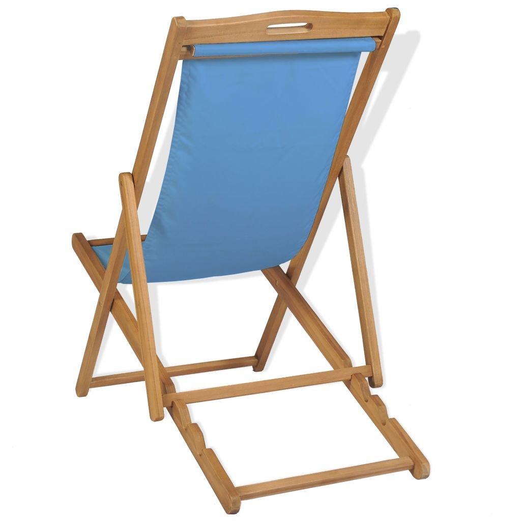 mewmewcat Sedia a Sdraio in Legno di Teak 56x105x96 cm Blu