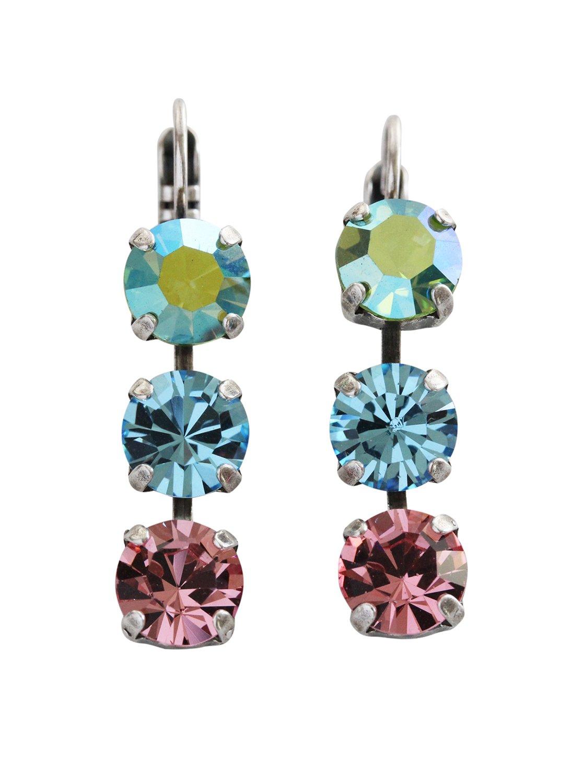 Mariana Summer Fun Silvertone Triple Dangle Drop Crystal Earrings, Multi Color Blue Pink 1440/1 3711