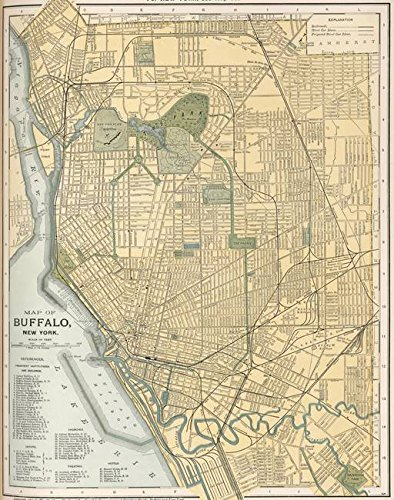 Imagekind Wall Art Print Entitled Vintage Map of Buffalo New York (1891) by Alleycatshirts @Zazzle | 24 x ()