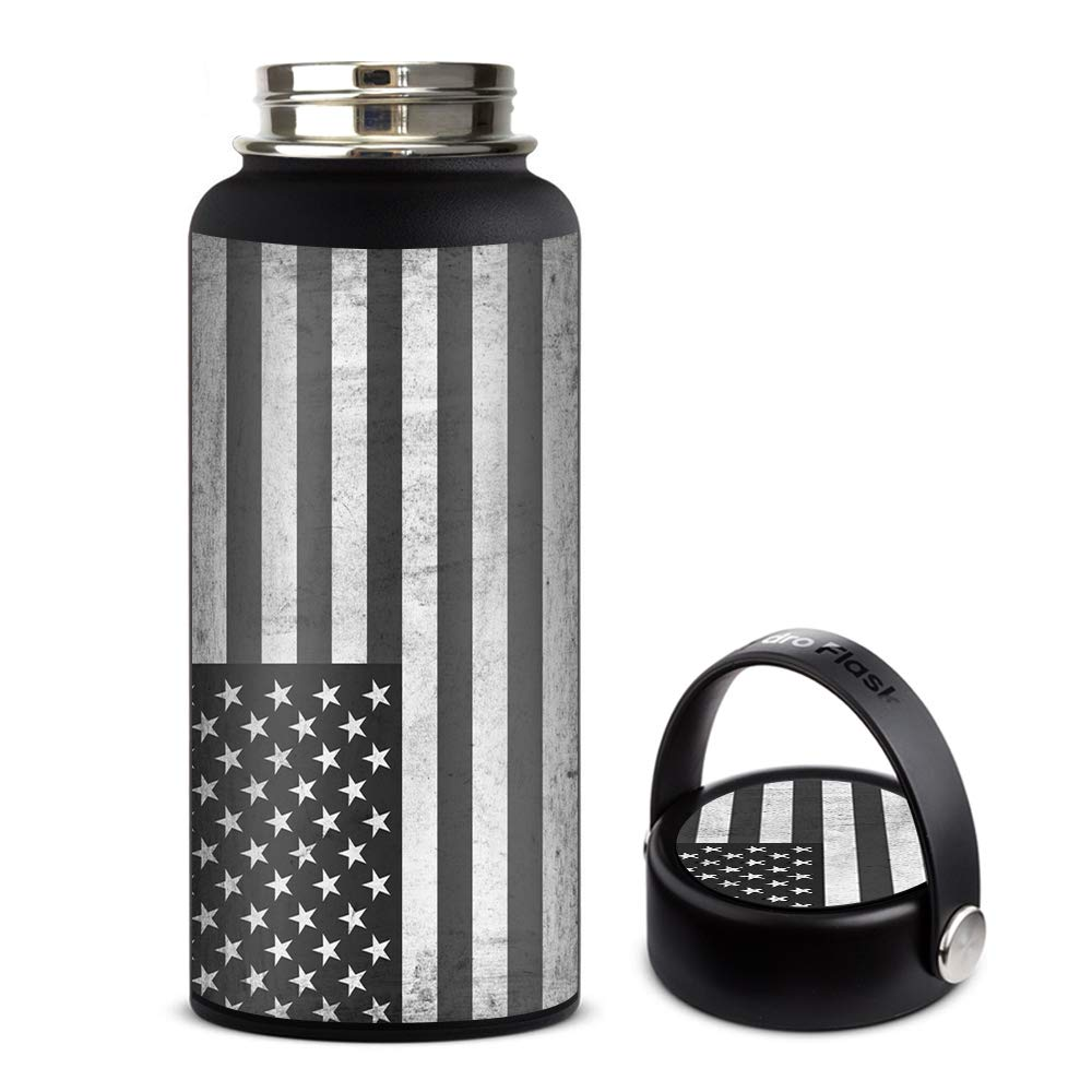 Skin Decal Vinyl Wrap for Hydro Flask 32oz Wide Mouth stickers skins cover/Black White Grunge Flag USA America