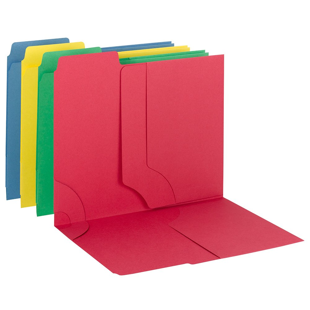 SMEAD 3-in-1 SuperTab Section Folders, 1/3 Cut Top Tab, Letter, Assorted, 12/Pack (11905)