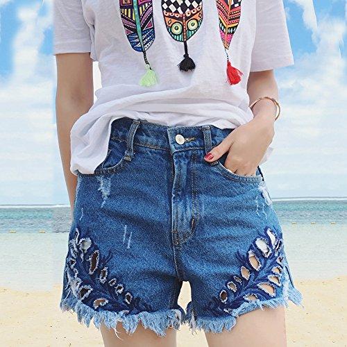 iBaste Mujer Verano Vintage Cintura Alta Hole Short Jeans Denim Shorts