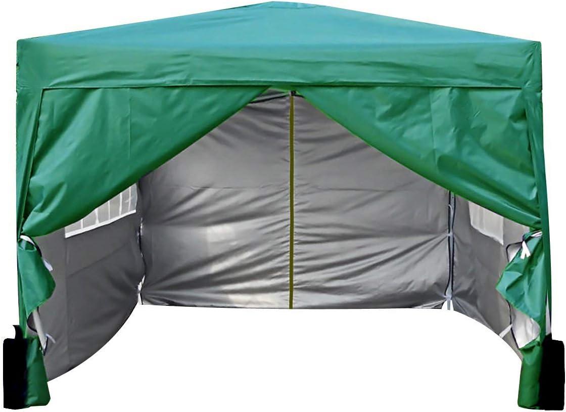 MCC® Gazebo Plegable Impermeable del Gazebo 3x3m, Tienda del pabellón con la Capa Protectora de Plata Incluye Paredes Laterales [WS] (Color Verde) ...