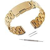 kuxiu® 22mm acero inoxidable correa de banda de reloj de recambio para LG G Watch W100y Samsung Gear 2nd R380y Pebble tiempo y Moto 3602nd Gen (mm) Smartwatch + herramientas (de color Dorado)