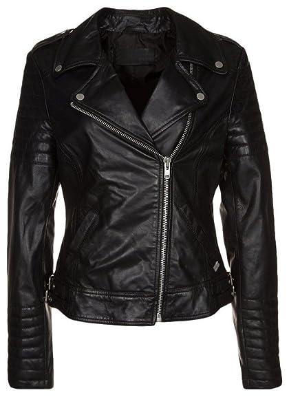 854cd9d75cf35 crafat Women's Leather Jacket Black Slim fit Biker Genuine Lambskin Jacket ( 60) (XS