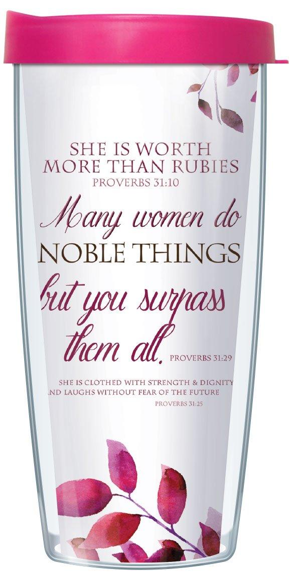 Proverbs 31 Woman Worth More than Rubies 16 Oz Tumbler Mug with Lid