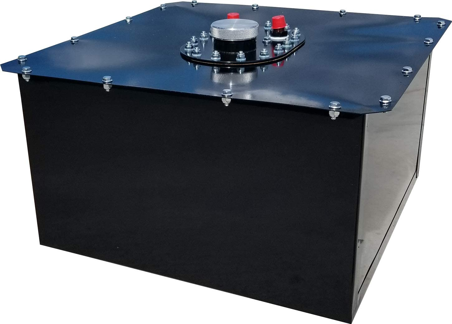 25 x 19 x 11 in Tall 10 AN Male Outlet Black Fuel Cell and Can Each Steel//Plastic Circle Track 16 gal 8 AN Male Vent
