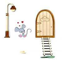 Kit ratoncito Pérez de Vinilo, con quesito, plato, alfombra+Puerta mágica, farola y escalera de madera para pintar y…