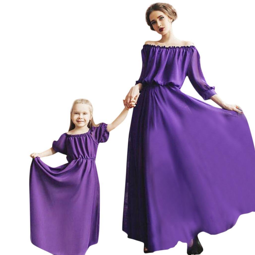 Morwind Mamma E Bambini Vestiti Vestito Nuovo Famiglia Estate Madre Abito  Lungo Abito Donna Vestiti Casual Madre Figlia Vestito Vestito Donna Elegante  Lungo 08c493cdf13
