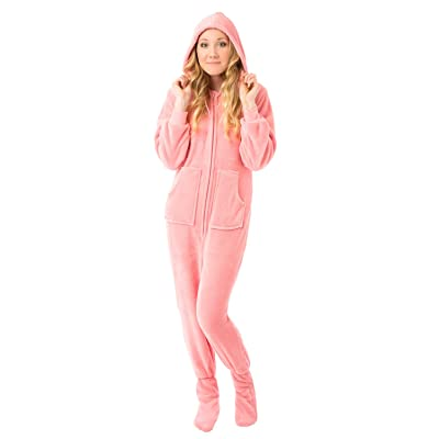 Big Feet PJs Pink Hoodie Plush Women's Footed Pajama Onesie with Drop Seat