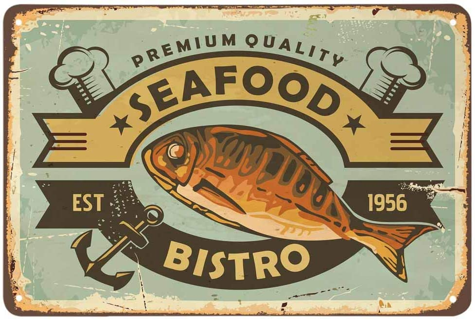 AOYEGO Seafood Fish Tin Sign,Bistro Fish Hat Anchor Star Striped Chef Cuisine Delicious Restaurant Vintage Metal Tin Signs for Cafes Bars Pubs Shop Wall Decorative Funny Retro Signs 8x12 Inch
