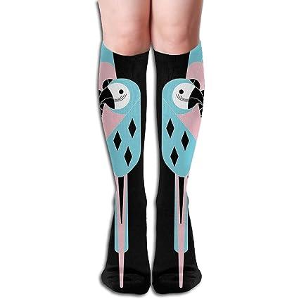 Unisex Animal pájaro Parrot Tropical elástico largo calcetines rodilla alta calcetines de compresión (50 cm
