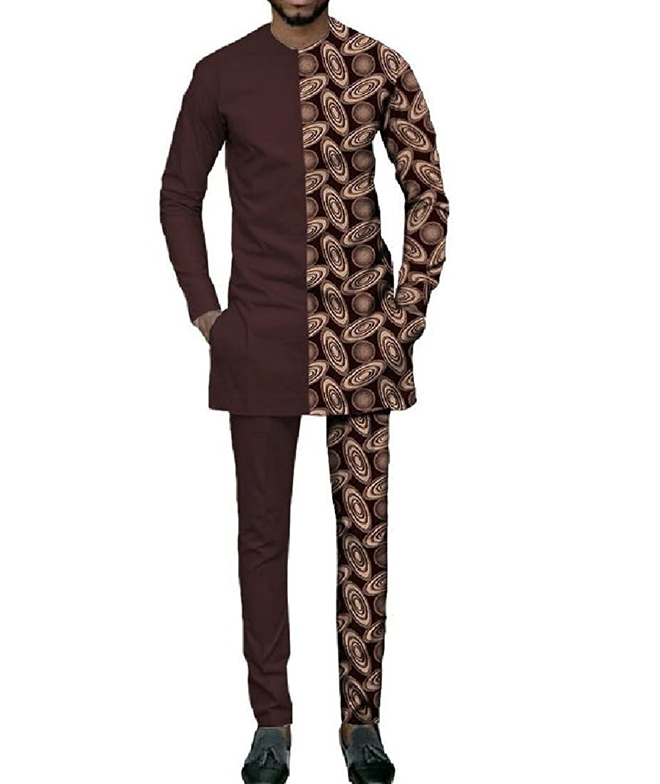 Doufine Mens Splice Africa Dashiki T Shirts Pullover Folk Style Pants Set