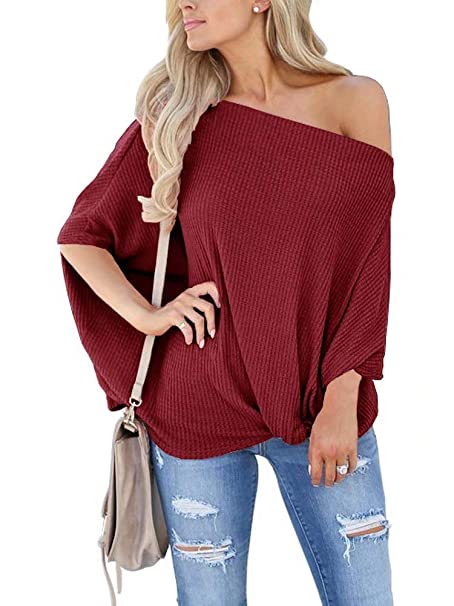 d196356f4274b6 LACOZY Women s Summer Waffle Knit Off Shoulder Tops Batwing Sleeve Knot  Shirt Tunic Blouse Burgundy Large