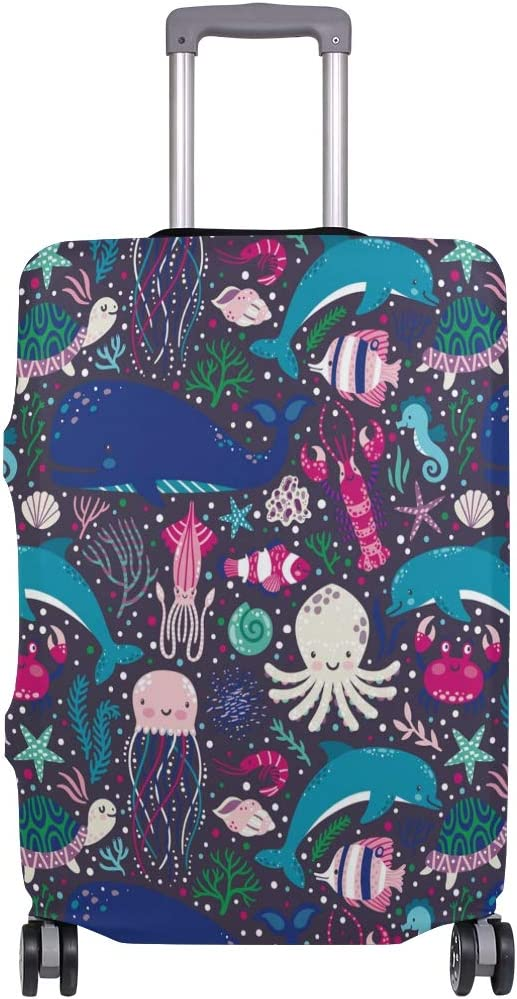 Baggage Covers Marine Dolphin Octopus Jellyfish Starfish Washable Protective Case