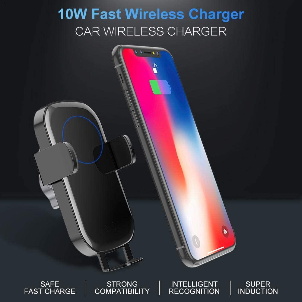 NMSLQ Xiaomi Wireless Car Charger Mount,Intelligent Voice Control Infrared Auto Clamping with Dashboard Air Vent Phone Holder Compatible