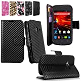 Cellularvilla Wallet Pu Leather Flip Open Pocket Stand Case Cover Pouch with Credit Card Id Holder Slots / Detachable Wrist Strap for ZTE Concord II 2 Z730 T-mobile (Carbon Fiber Black)