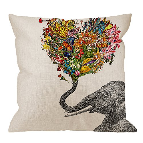 HGOD DESIGNS Elephant Pillow Case,Elephant with Colorful Flower Love Cotton Linen Cushion Cover Square Standard Home Decorative for Men/Women 18x18 inch Gray Yellow Red