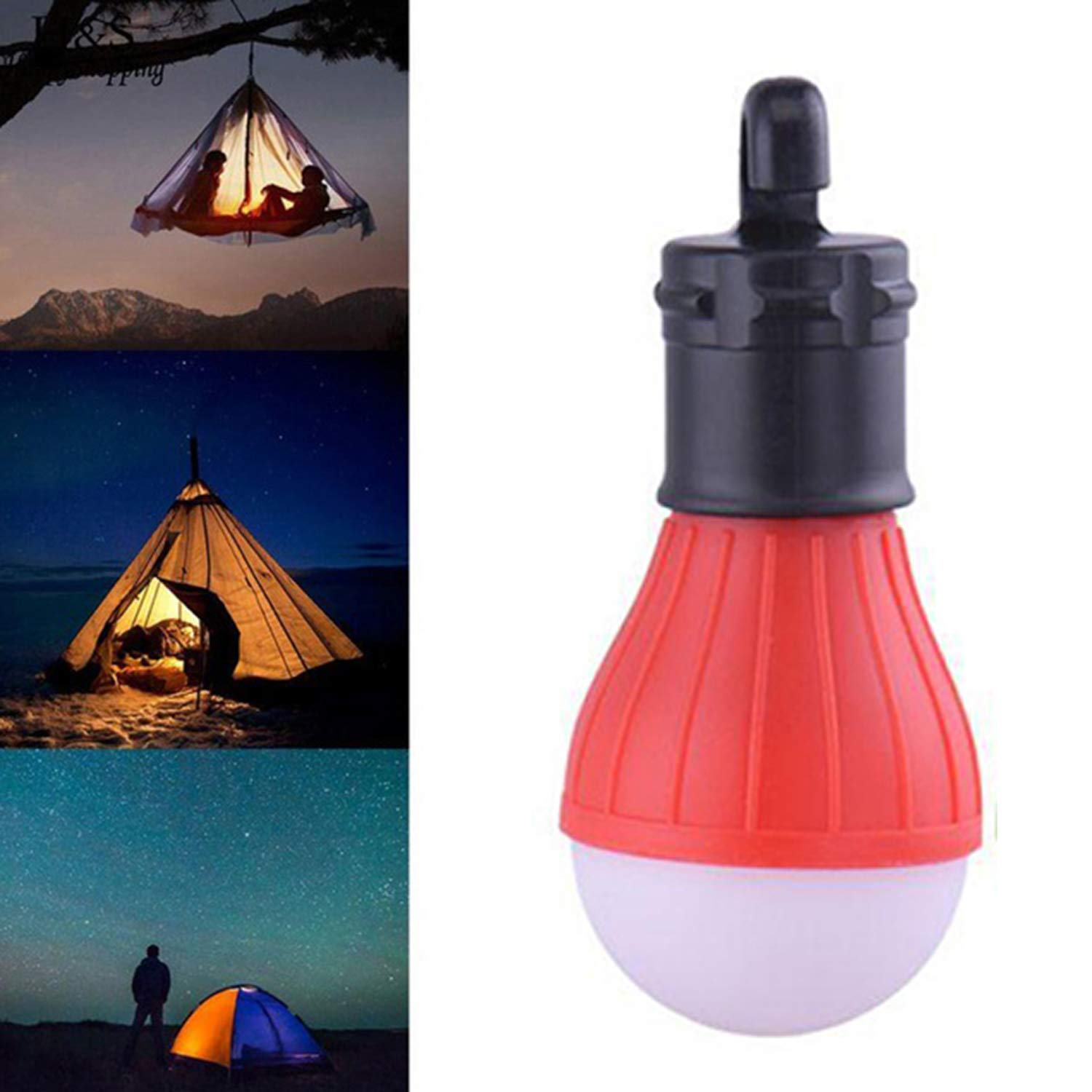 Angoo Beauty Multifunctional Outdoor Camping LED Tent Light Portable Emergency Lamp with Hook (Red)