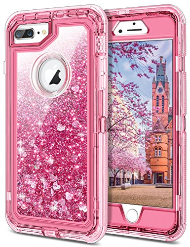 JAKPAK iPhone 8 Plus Case, Shockproof Glitter Flowing Liquid Bling Sparkle Cover for Girl Woman Heavy Duty Full Body Protective Shell for 5.5