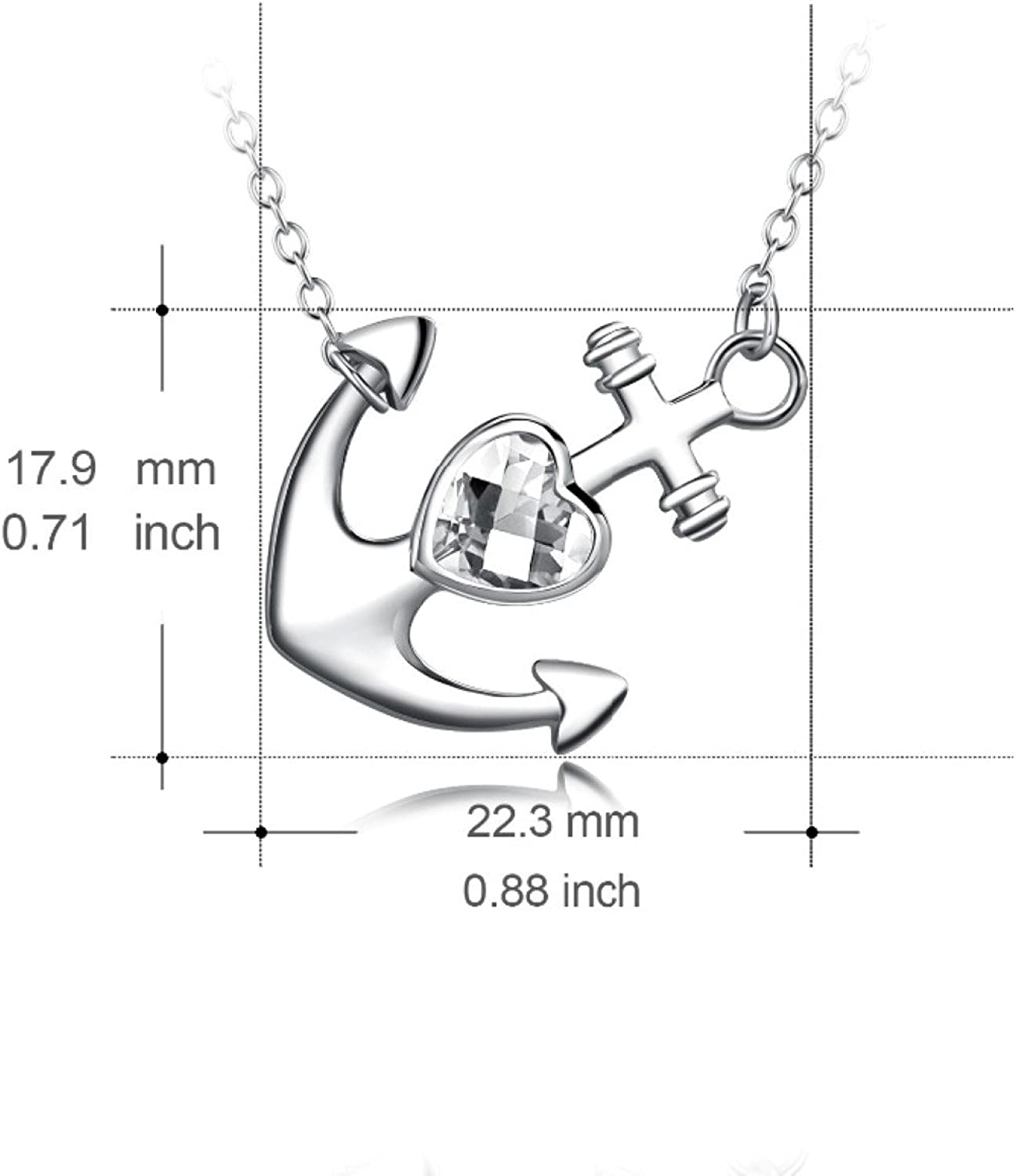 CS-DB Womens Necklaces by Silver Pendant Girls Anchor White Crystal Charm Girls