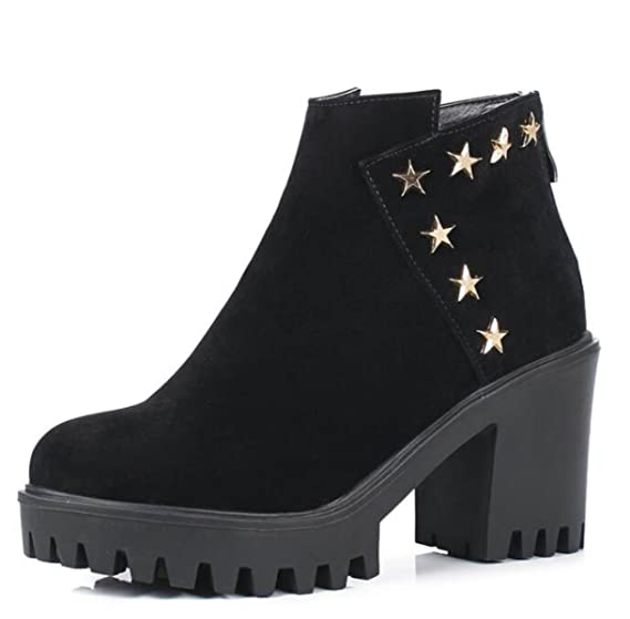 High Heels Suede Women's Boots England Wild Matte Leather Short Tube Female Boots B0777K9FFB