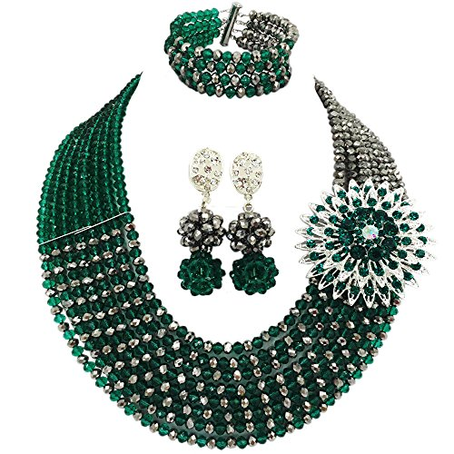 aczuv 8 Rows African Jewelry for Women Nigerian Beads Wedding Necklace Set Bridal Jewelry Sets (Army Green Silver) ()