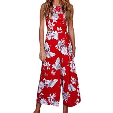 c07d75a6474 Opeer Women Sleeveless Floral Print Jumpsuit Casual Clubwear Wide Leg Pants  (S)