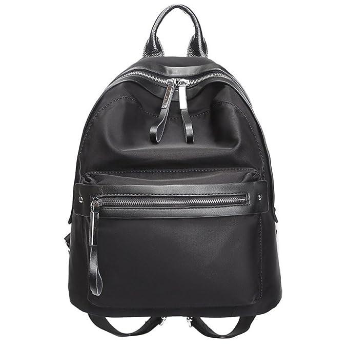 Mochila De Nylon Para Mujeres Bolso De Viento Casual Para Colegio Moda Personalizada,Black-31 * 16 * 34cm: Amazon.es: Ropa y accesorios