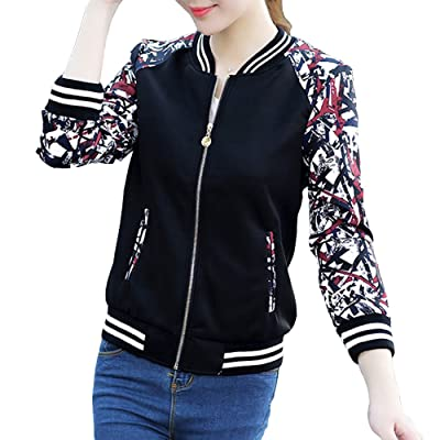 EVEDESIGN Women's Floral Print Baseball Bomber Jacket Slim Fit Casual Zip Up Outwear at Women's Coats Shop
