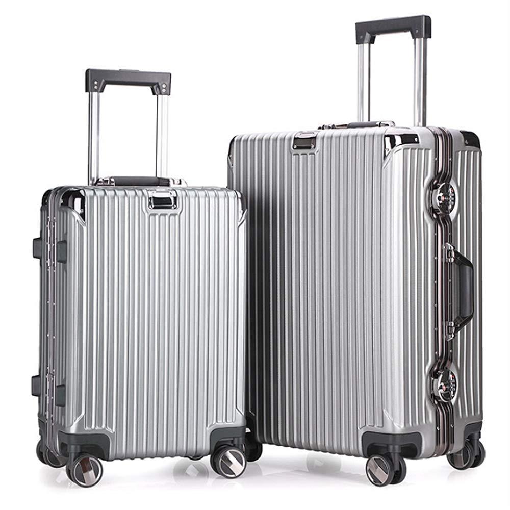 軽量スーツケース ビンテージダブルロックデザインスピナートラベル荷物トロリーケース2ピース入れ子セット20インチ24インチ荷物スーツケースハードシェル軽量キャリーオンアップライトスーツケース360°サイレントスピナー多方向ホイール飛行機フライト&チェックイン 旅行スーツケース (色 : 銀, サイズ : 20in+24in) B07RBW7JYJ 銀 20in+24in