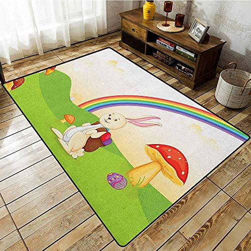 Skid-Resistant Rug,Mushroom,Bunny with Easter Egg Under Rainbow Happy Rabbit in Nature Kids Theme Fun Design,Ideal Gift for Children,3'11