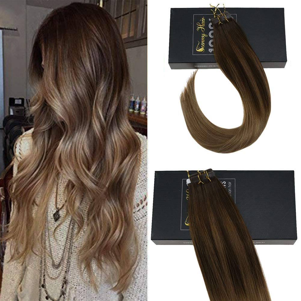 Amazoncom Sunny 14inch Tape In Hair Extensions Human Hair Blonde