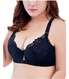 166489a890 TESNATEVY Push Up Bras for Women Plus Size Floral Lace Underwire Bra Soft  Cup Everyday Bra