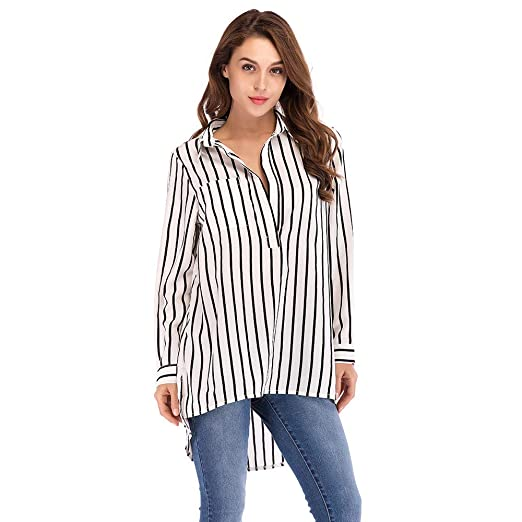 336d42c831e Amazon.com  Besooly Women Plus Size Shirt Office Lady Blouse Sexy Tops Coat  Long Sleeve Striped Loose Blouse Long Sweatshirt  Clothing