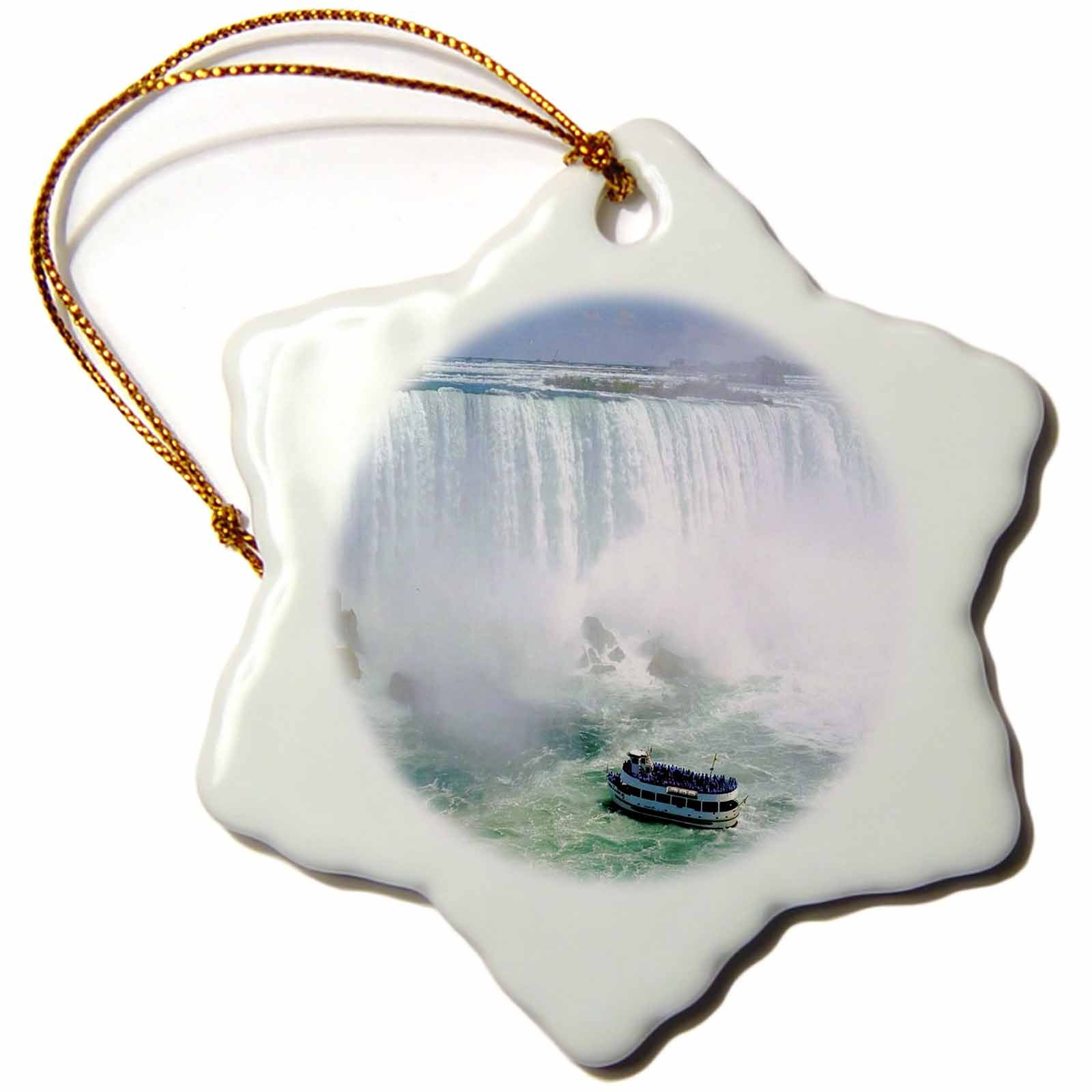 3dRose Maid Of The Mist Boat Under Niagra Falls - Snowflake Ornament, Porcelain, 3-inch (orn_56919_1)