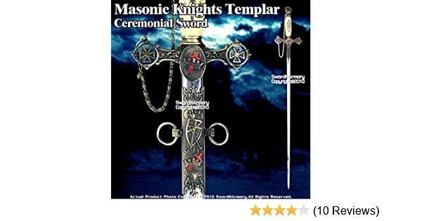 Medieval Gears Masonic Knights Templar Ceremonial Sword Antiqued Brown  Finish with Chain