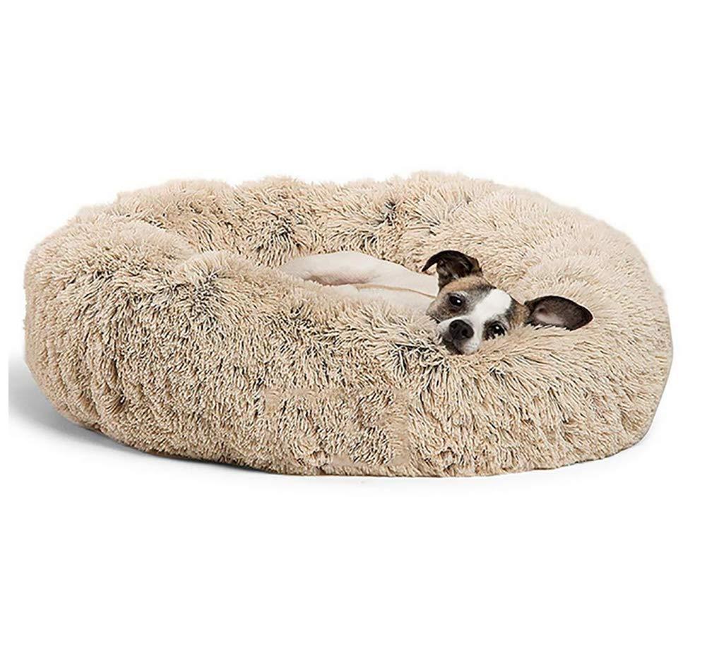 MEIQI Orthopedic Dog Bed Comfortable Donut Cuddler Round Dog Bed Ultra Soft Washable Dog and Cat Cushion Bed,M:666626CM