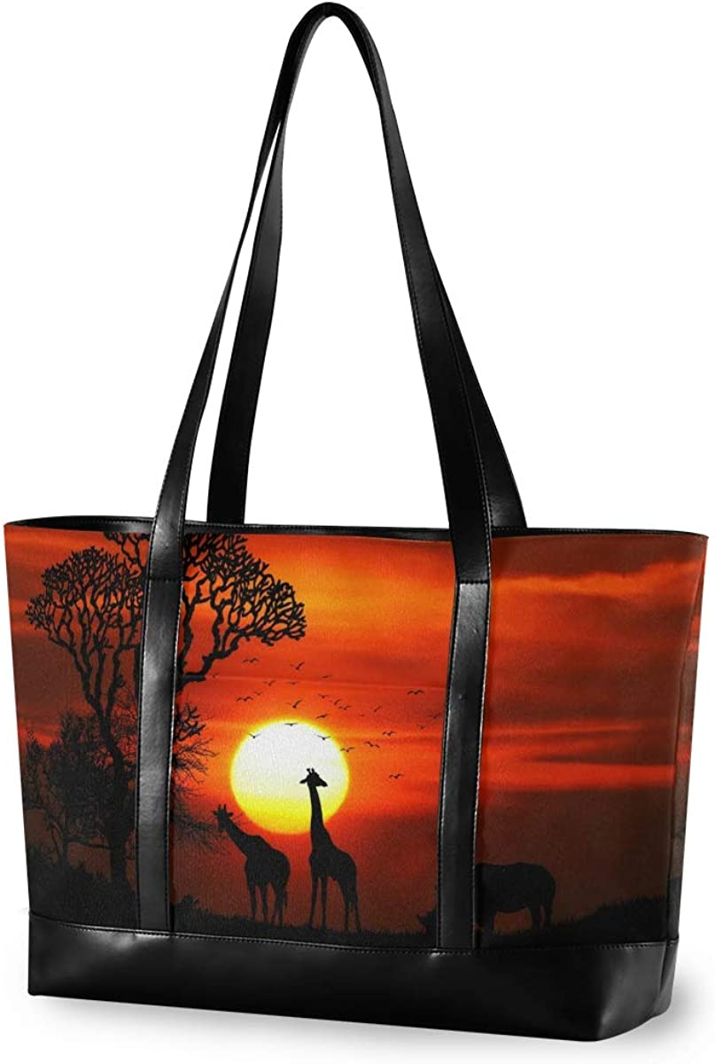 Leather Business Work Office Briefcase for Computer Africa Animal Giraffe 15.6 Inch Laptop Tote Bag For Womens Large Tote Bag Lightweight Shoulder Bag Multi-Pocket Canvas