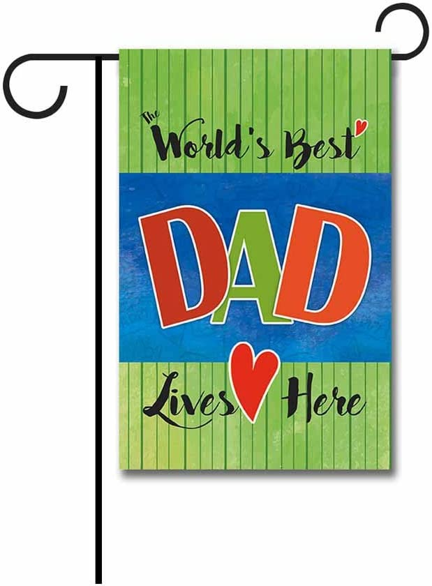 KafePross The World Best Dad Live Here Fathers Day Decoration Garden Flag 12.5