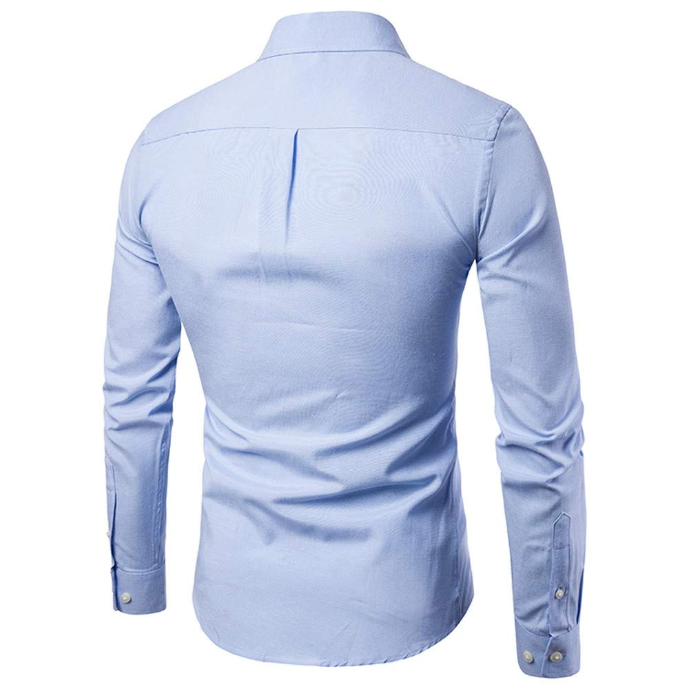 LEEDY Camisa de Manga Larga para Hombre con Bolsillo Formal Slim Fit Slim Manga Larga Camisa Casual s/ólida Blusa Blusa