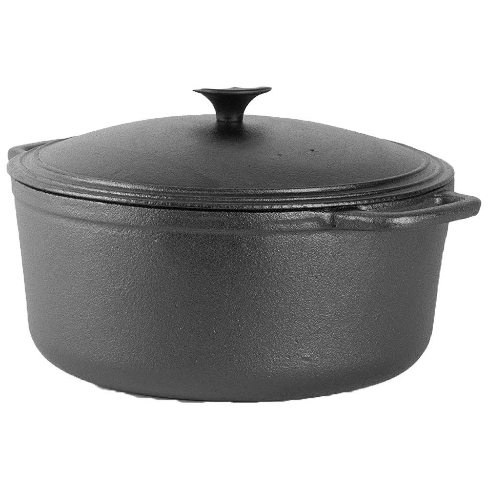 Large /& Heavy Thick-Walled Cooking Pot with Tight-Fitting Lid and Easy-To-Grip Handle Commercial Chef 6.6 Cast Iron Quart Dutch Oven
